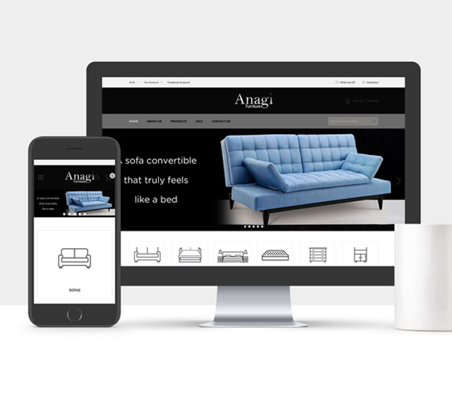 Anagi Furniture website design & development